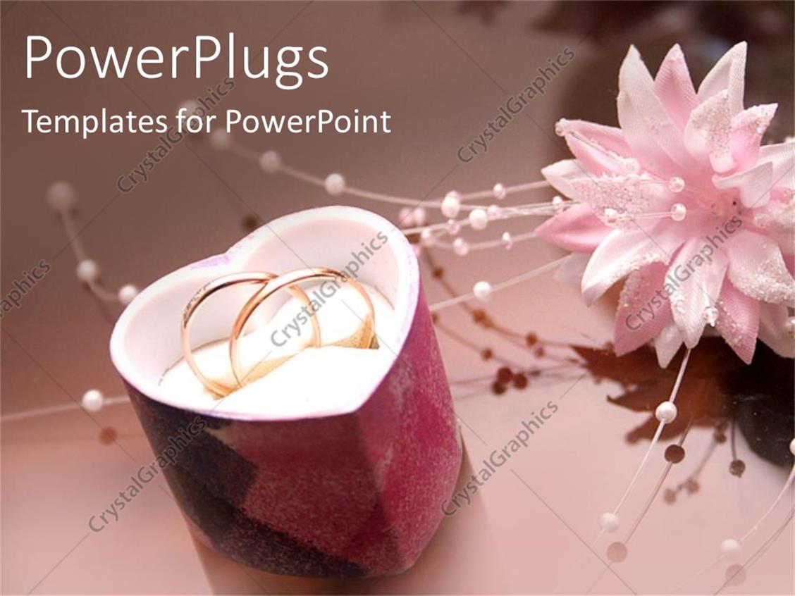 PowerPoint Template: two wedding rings in a heart shaped jewelry ...