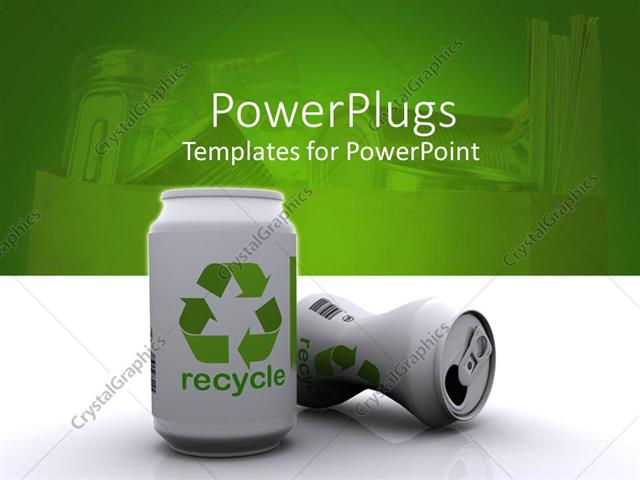 Powerpoint template two white 3d aluminum cans with green recycle powerpoint template displaying two white 3d aluminum cans with green recycle sign and word on white toneelgroepblik Gallery
