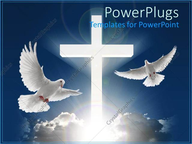 Powerpoint Template Two White Doves Flying In Blue Sky Next To Huge