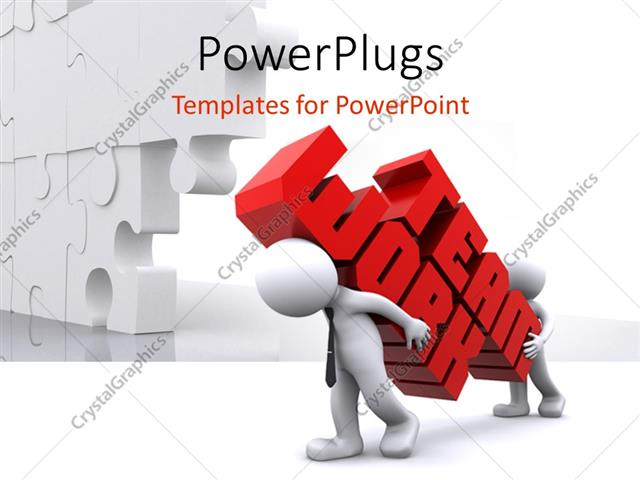 powerpoint template two white figures carrying words team work in