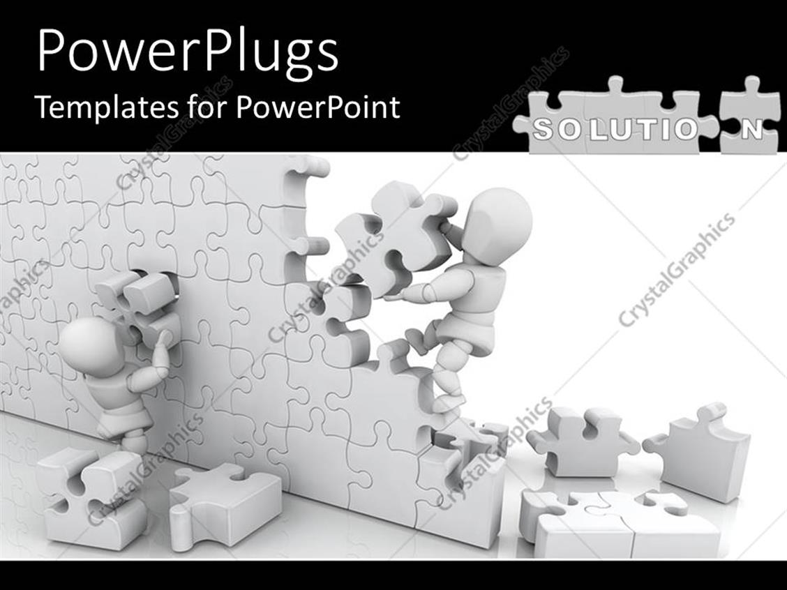PowerPoint Template: Two white figures working together to assemble ...