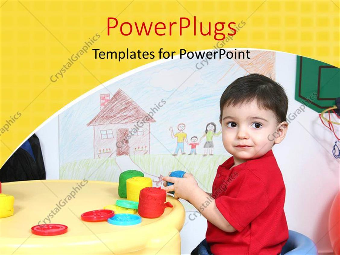 PowerPoint Template Displaying Two Year Old Boy Playing with Colorful Dough Depicting Kids Learning with Drawings