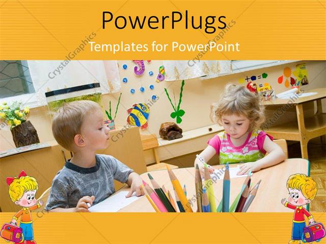 PowerPoint Template Displaying Two Young Children in a Class Room Looking at Books