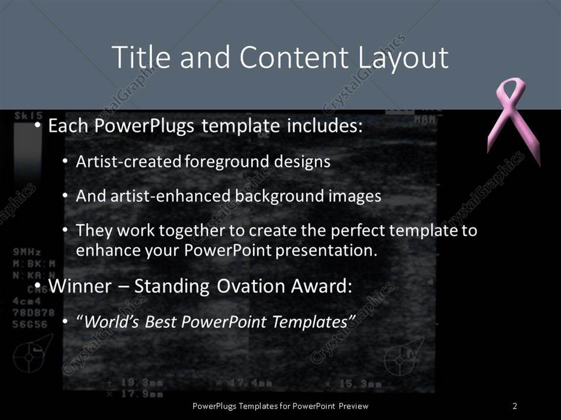 PowerPoint Template: ultrasound depiction of breast tumor with ...