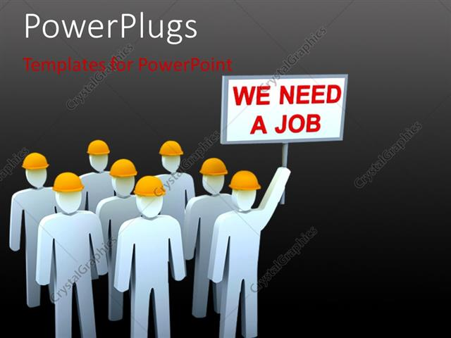Powerpoint template unemployment depiction with team of people powerpoint template displaying unemployment depiction with team of people carrying placards in protest toneelgroepblik Choice Image