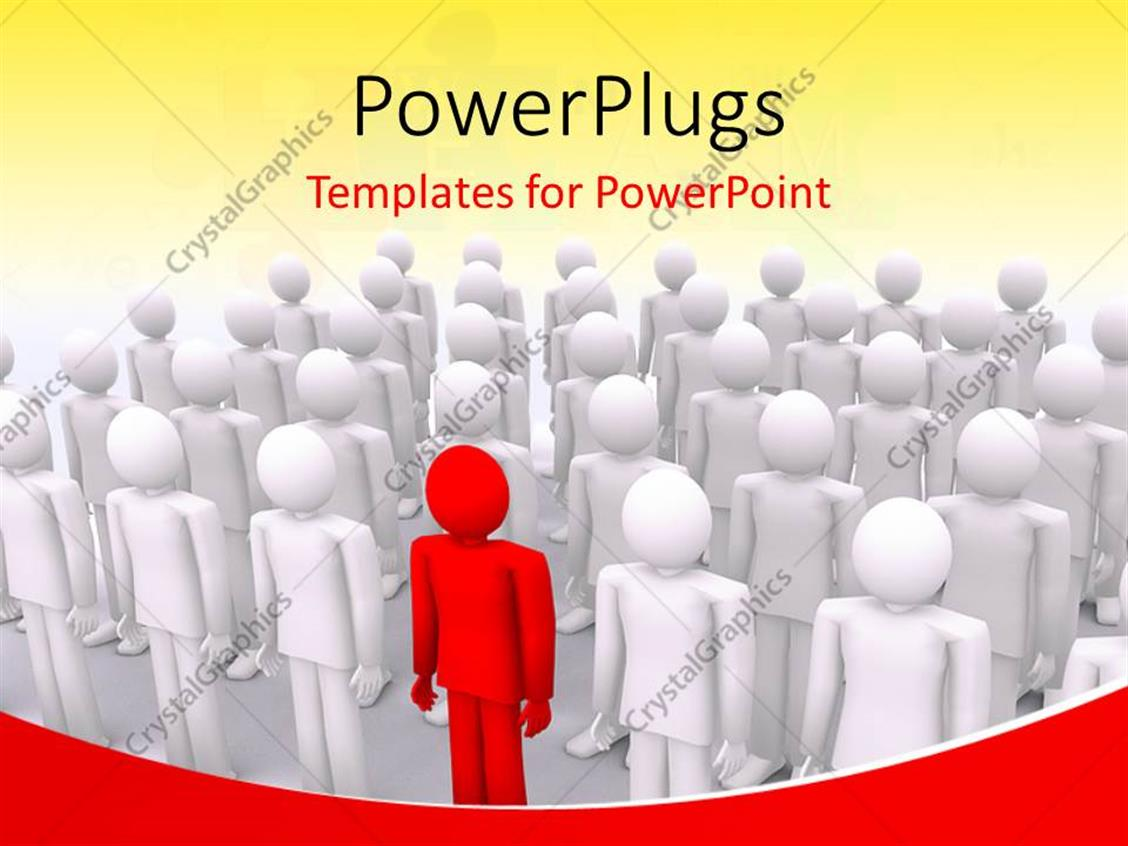PowerPoint Template Displaying Unique 3D Man Colored Red among a Crowd of White People
