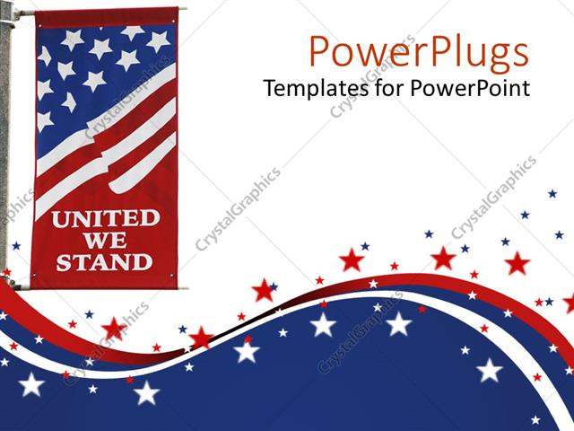 Powerpoint template united states of america flag on pole with powerpoint template displaying united states of america flag on pole with united we stand motto printed on toneelgroepblik Images