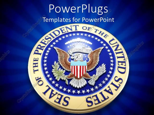 powerpoint template united states presidential seal in 3d on blue