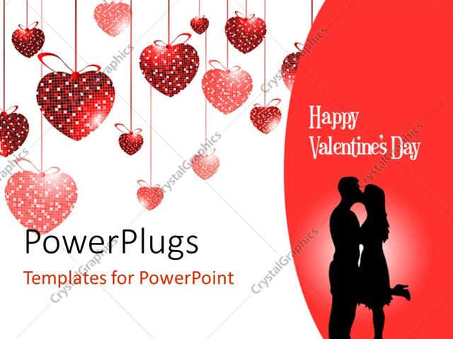 Powerpoint template valentine depiction with love shaped ornaments powerpoint template displaying valentine depiction with love shaped ornaments and couple kissing toneelgroepblik Image collections