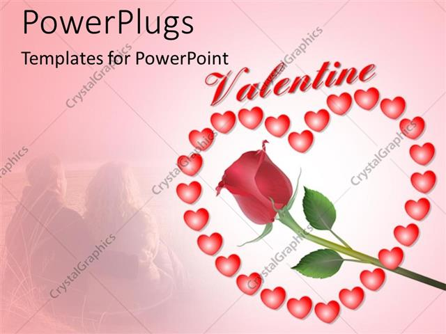 Powerpoint Template Valentine Depiction With Rose Flower And Heart