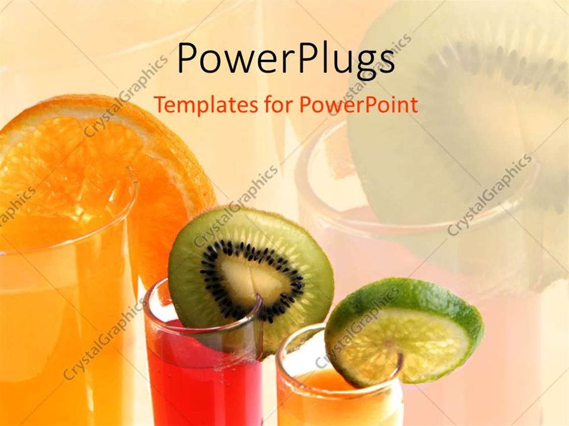 PowerPoint Template Displaying Various Colored Juices with their Reflection in the Background