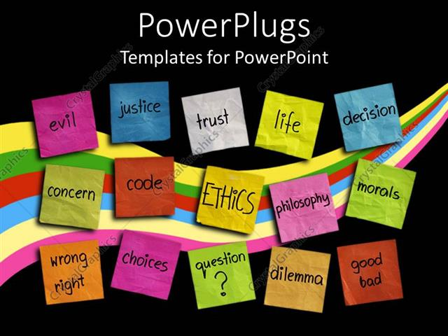 Powerpoint template various colored sticky notes with words powerpoint template displaying various colored sticky notes with words related to ethics and life toneelgroepblik Image collections