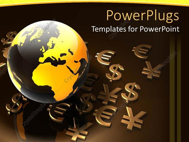 Powerpoint Template Various Currency Symbols Being Placed Along