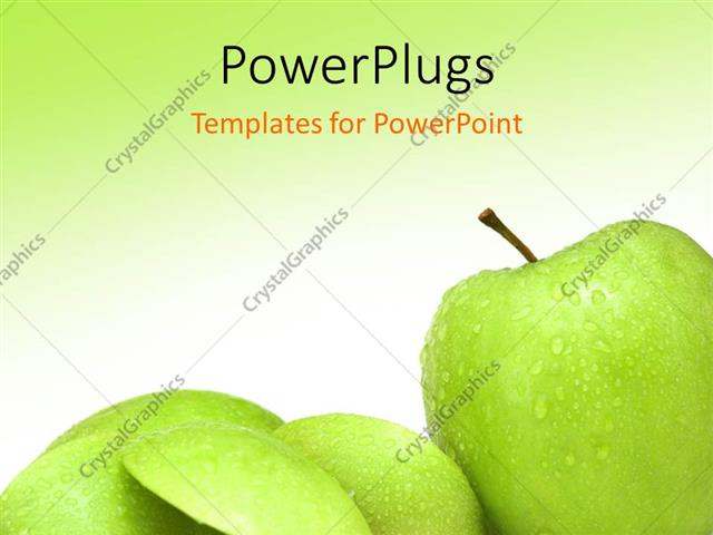 Powerpoint template various green apples with greenish background powerpoint template displaying various green apples with greenish background and place for text toneelgroepblik Choice Image