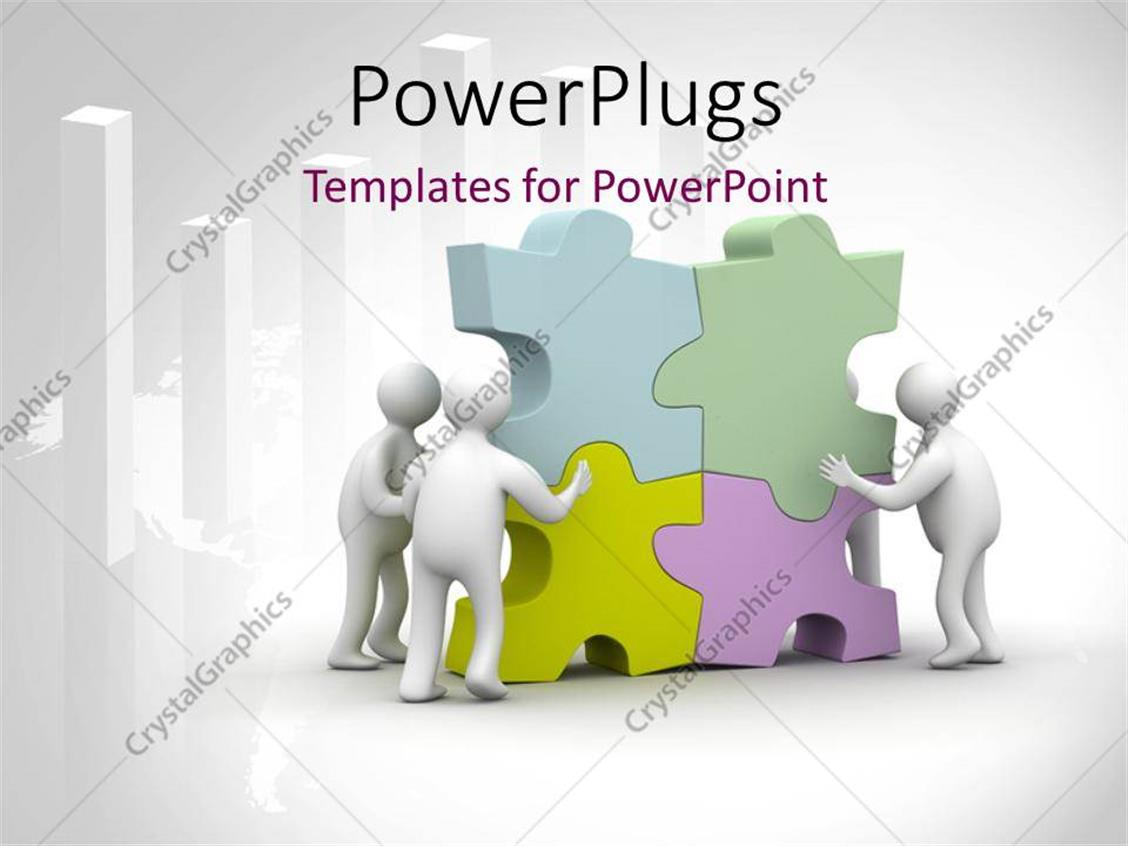 PowerPoint Template Displaying Various People Arranging Puzzle Pieces and Place for Text
