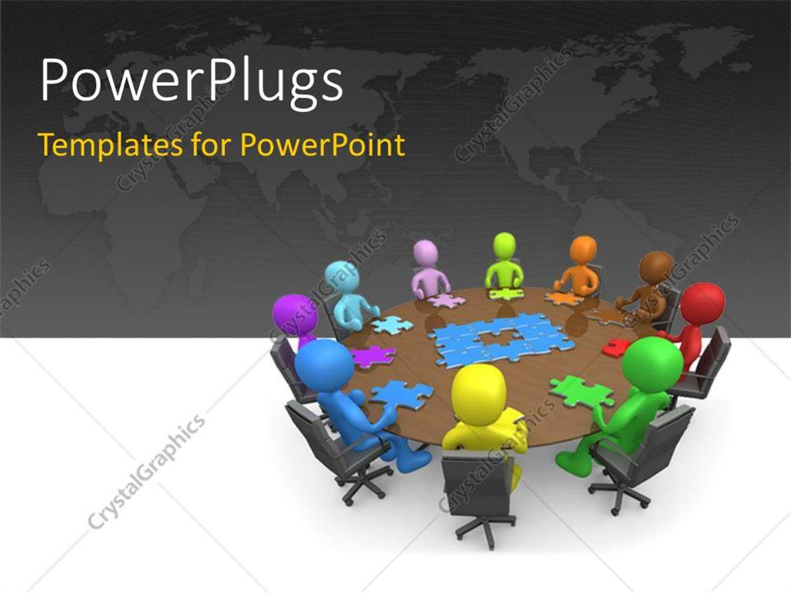 PowerPoint Template: various people sitting at a round table with ...