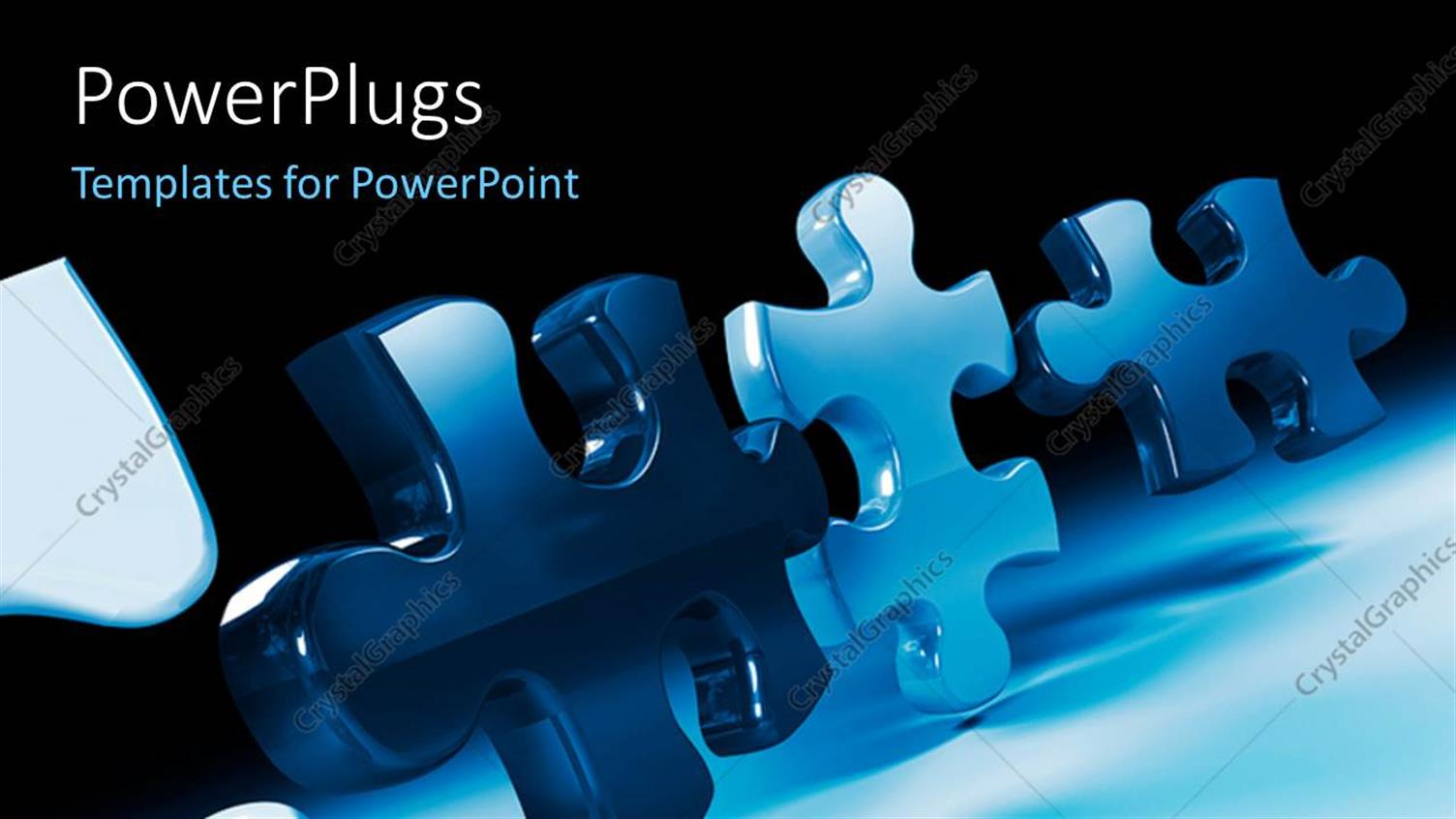 PowerPoint Template Displaying Various Puzzle Pieces with Blackish Background