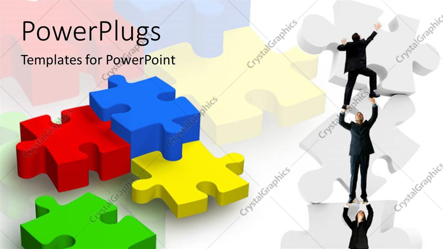 PowerPoint Template Displaying Various Puzzle Pieces with a Team of People