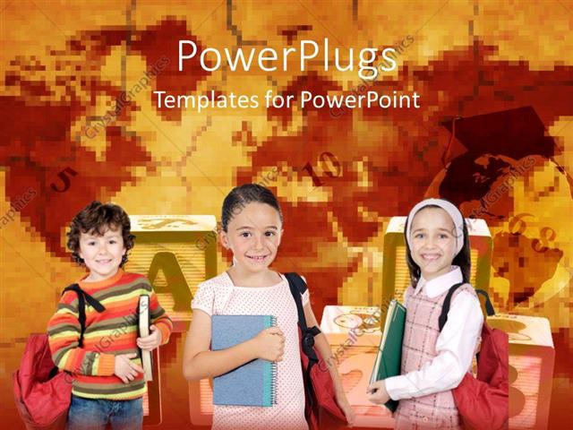 PowerPoint Template Displaying Various School Going Kids with Alphabets and Numbers in the Background