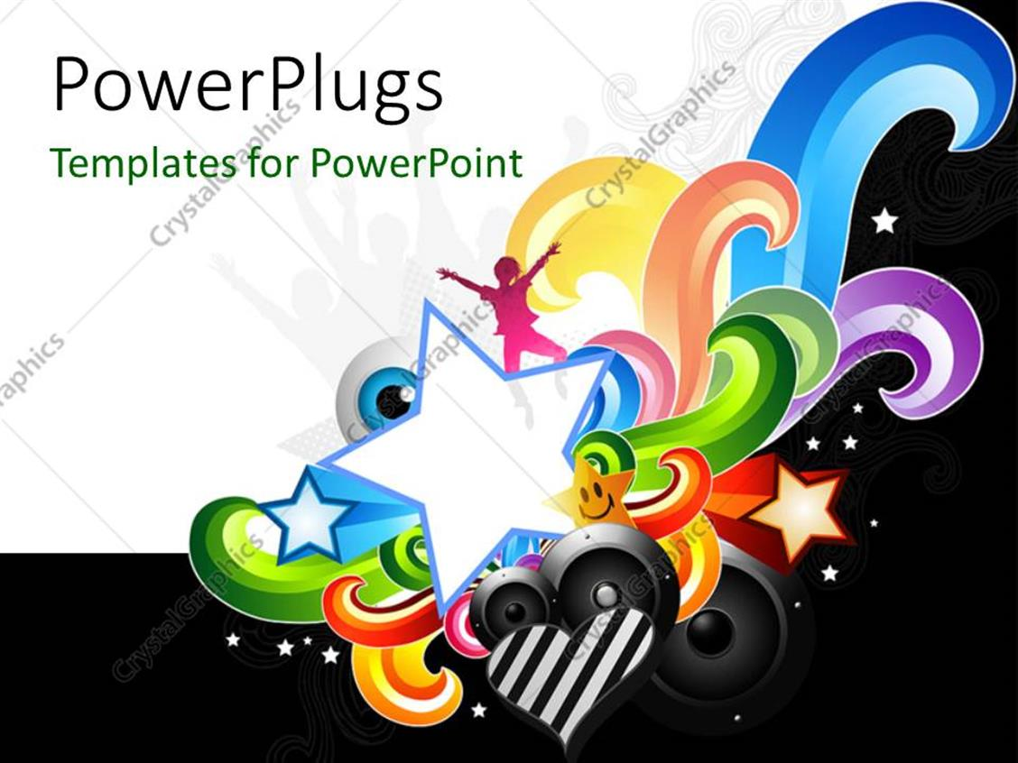 PowerPoint Template Displaying Various Speakers and Stars Along with White Background