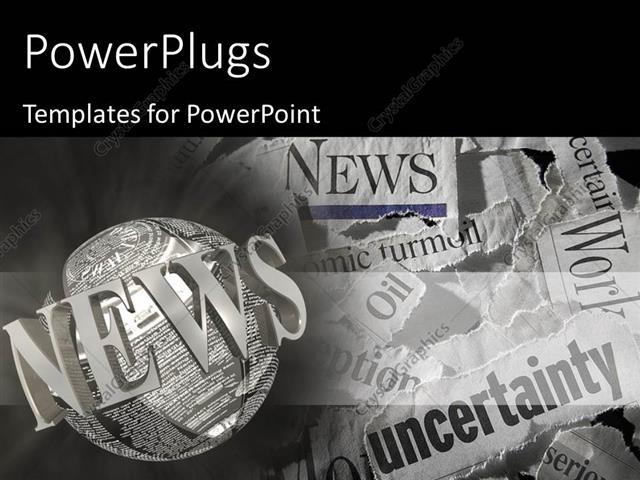 Powerpoint Template Various Torn Newspaper Headlines Showing