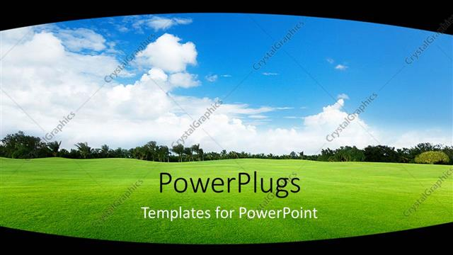 PowerPoint Template Displaying Vast Sunny Landscape on Natural Green Grass with Trees
