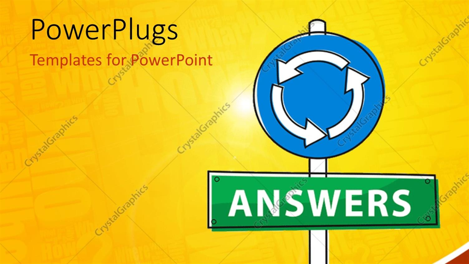 PowerPoint Template Displaying Vector Depiction of a Sign Pointing Road to Find Answers and Questions in the Background