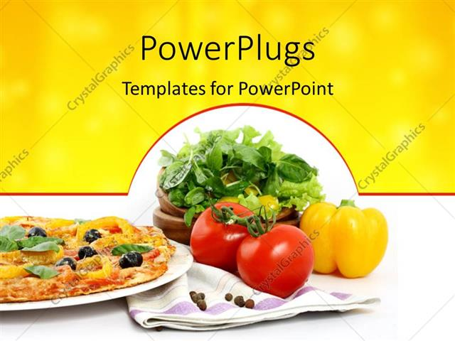 Powerpoint Template Veg Pizza With Delicious Toppings And