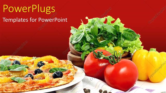 Powerpoint Template Veg Pizza With Toppings And Vegetables Dark