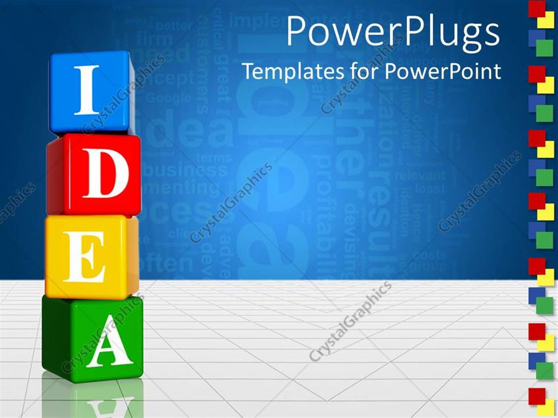 PowerPoint Template Displaying Vertically Stacked Multicolored Boxes with Letters Spelling Idea