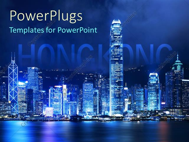 Powerpoint Template Victoria Harbor Of Hong Kong At Night With Word