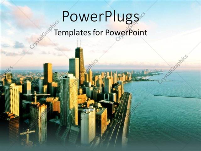 Powerpoint Template View Of Chicago Urban City View With Ocean And