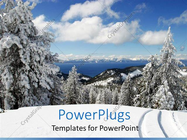 PowerPoint Template Displaying View of Lake Tahoe and Snowy Trees with More in Horizon