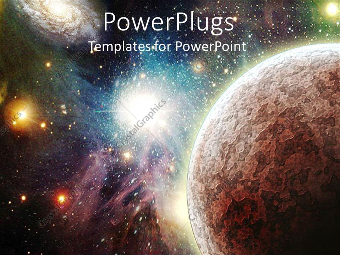 PowerPoint Template Displaying View of the Universe with Planets, Stars and Nebulas Glowing in the Background