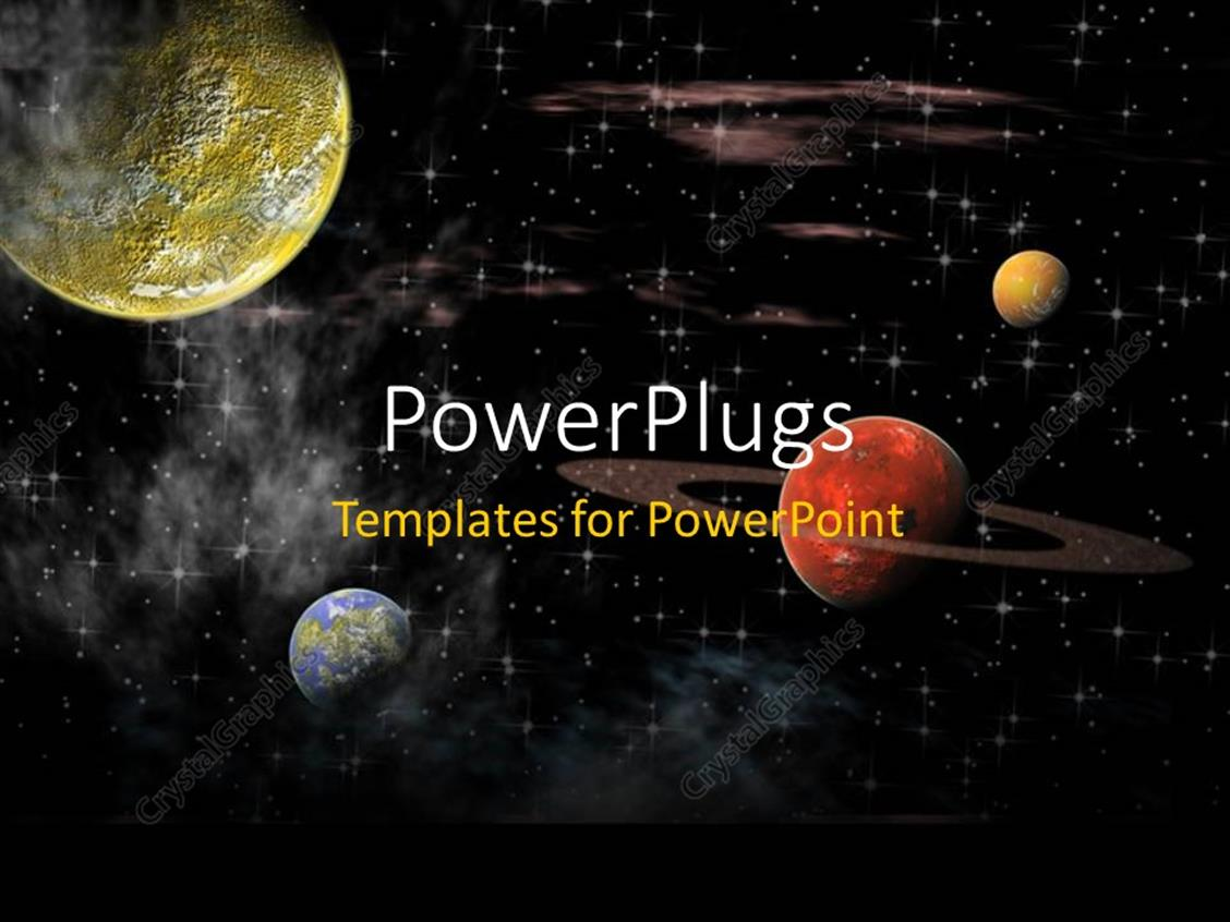 PowerPoint Template Displaying View of the Universe with Several Planets