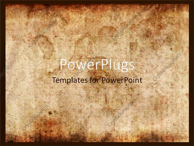 powerpoint template displaying vintage background of old paper with signs of burning or touch of time
