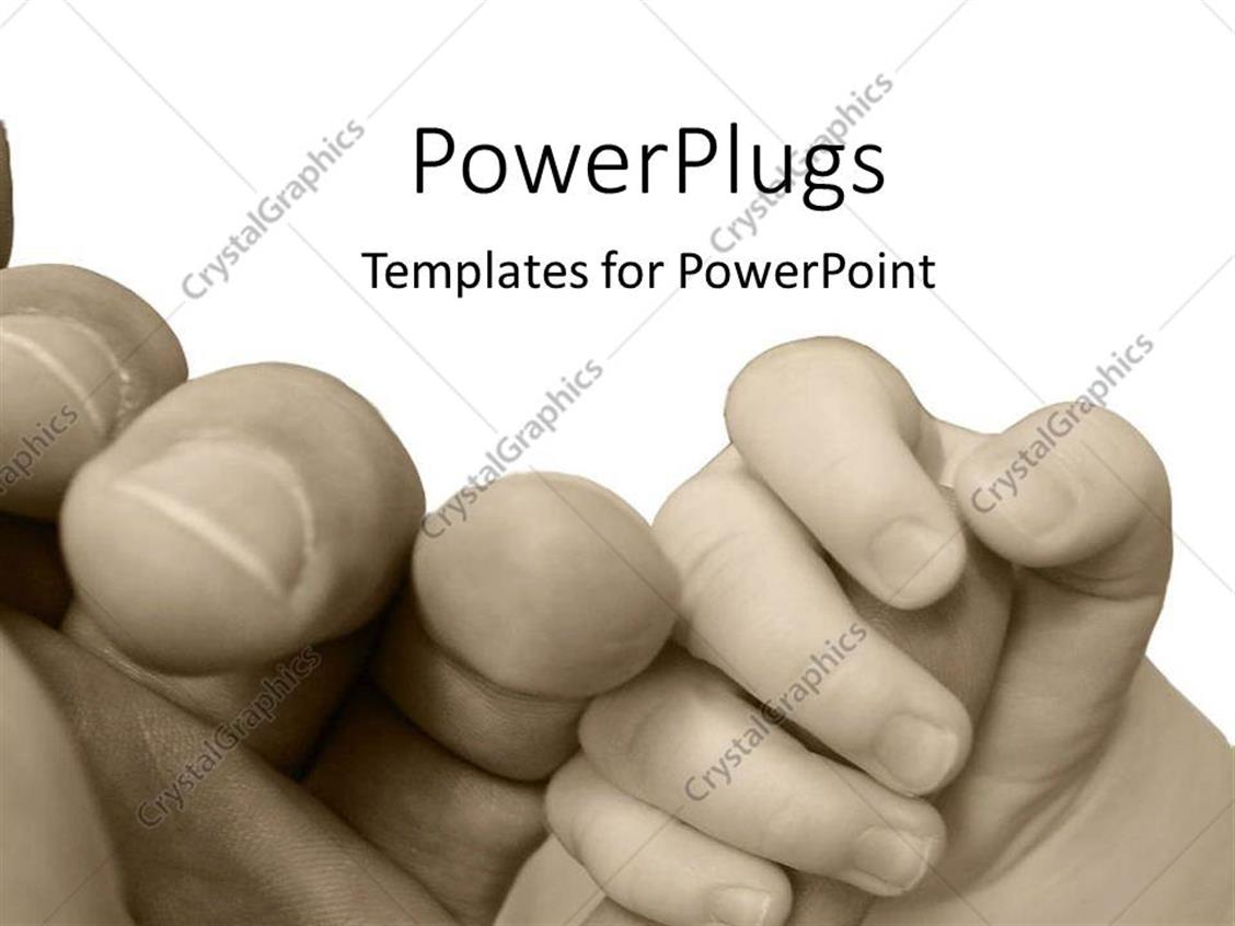 PowerPoint Template Displaying Vintage Black and White Depiction of Baby Hand Holding Parent Hand, Parenting, Child Holding Finger of Adult