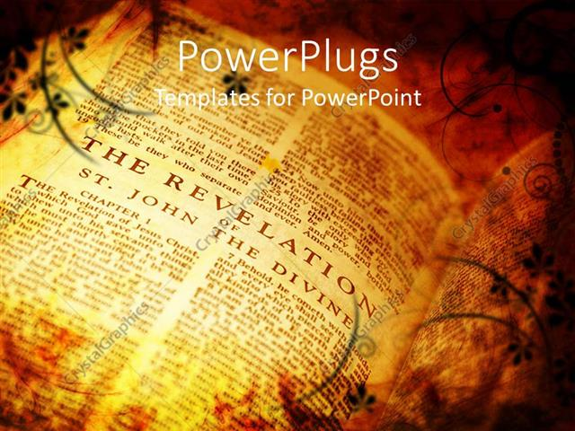 Powerpoint Template Vintage Style Bible Showing The Book Of