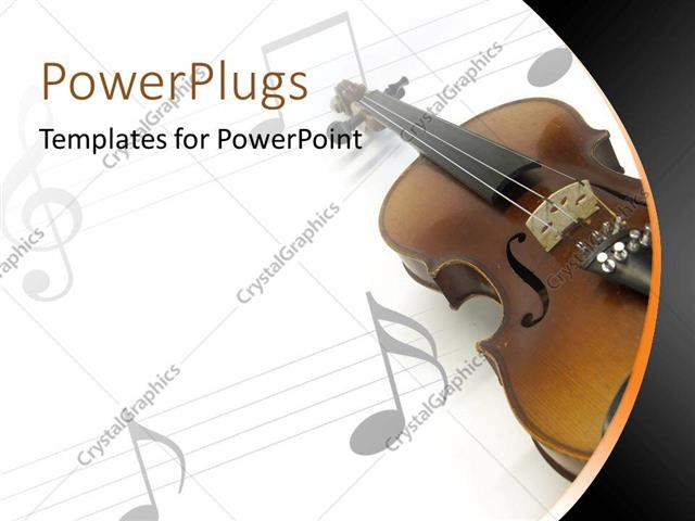 powerpoint template violin on white music sheet with gray music