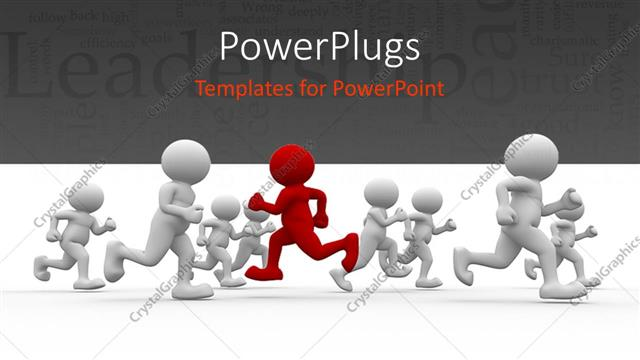 PowerPoint Template Displaying Leadership Depiction with Red Colored 3D Man Running in Opposite Direction