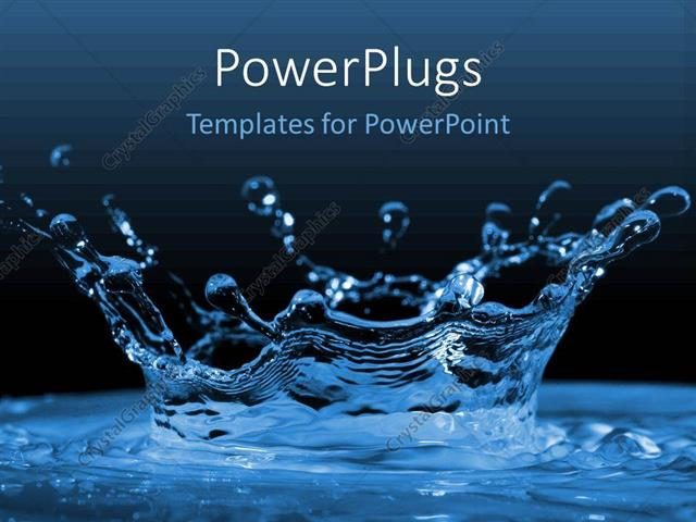 Powerpoint Template Water Ripples And Water Drops Splashing Blue On