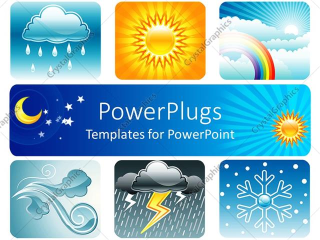 powerpoint template weather theme on white background showing six