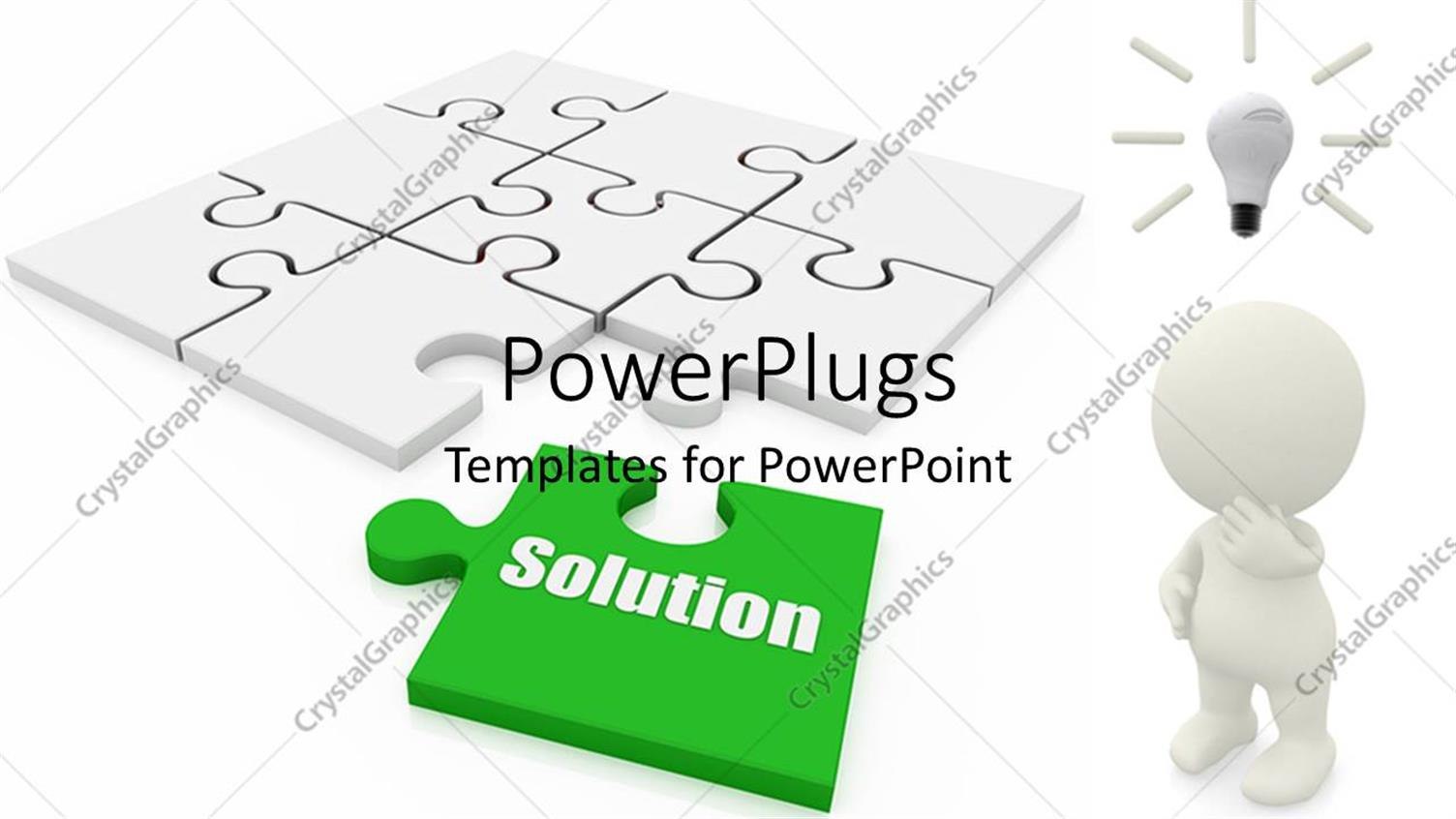 PowerPoint Template Displaying a Whie Jigsaw Puzzle with a Missing Green Piece