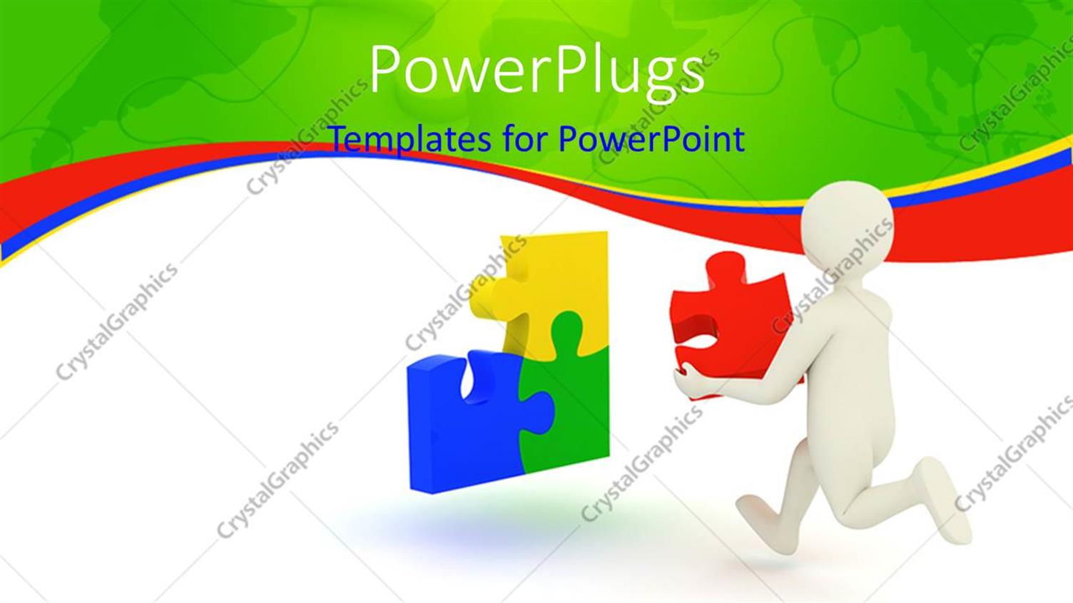 PowerPoint Template Displaying a White Colored Character Running with a Puzzle Piece in his Hand