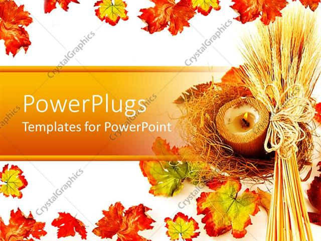 Powerpoint template white background with wheat strands and autumn powerpoint template displaying white background with wheat strands and autumn leaves as border toneelgroepblik Gallery