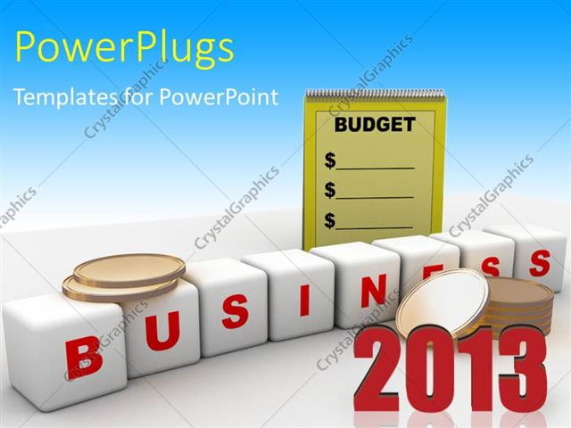 Powerpoint Template White Business Cubes With Gold Coins And