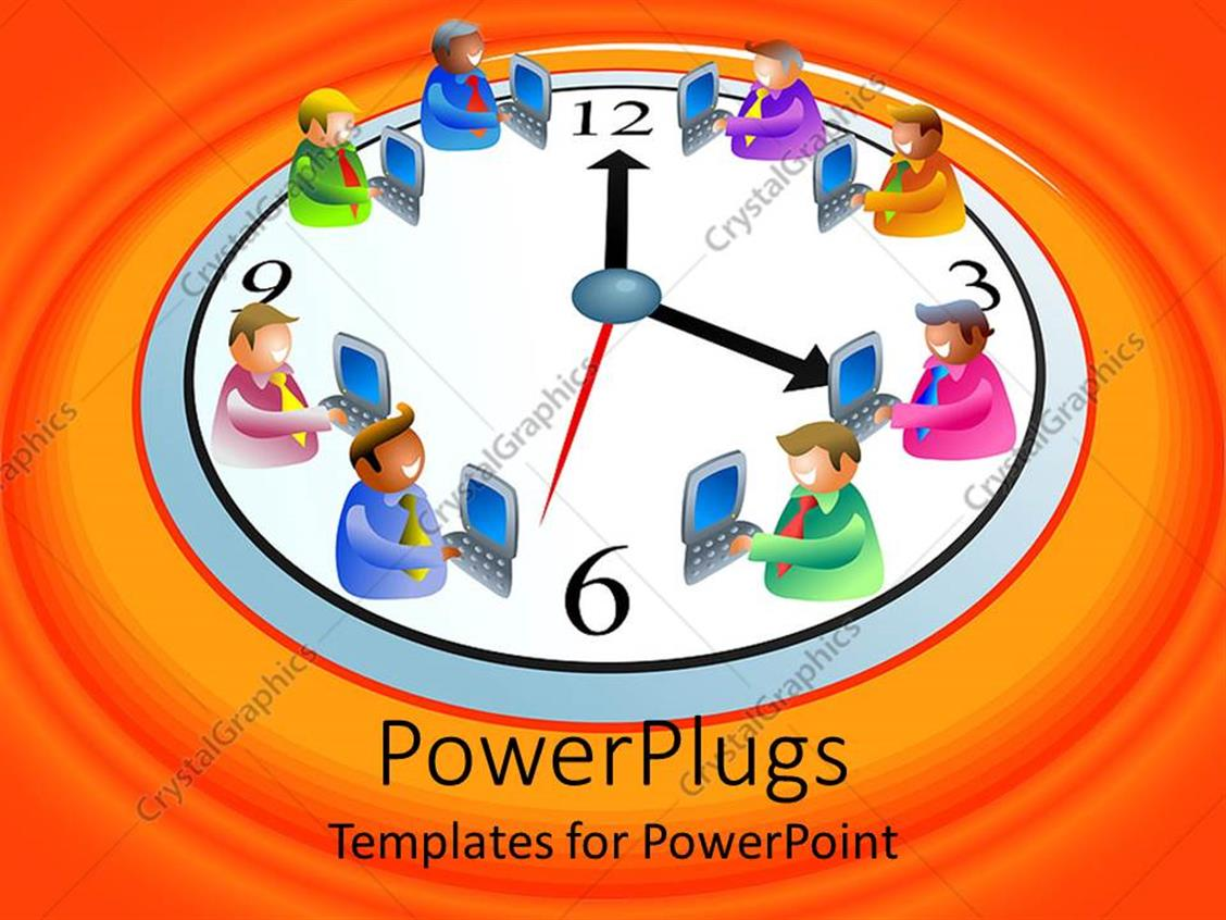 PowerPoint Template Displaying White Clock with Animated Figures with Laptops on an Orange Background