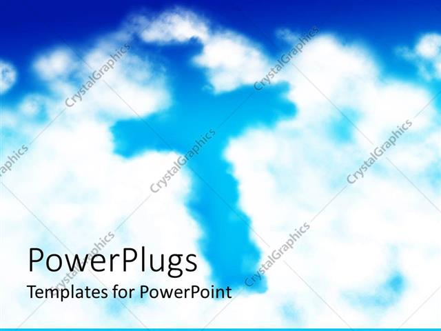 PowerPoint Template Displaying White Clouds in Blue Sky Forming the Shape of a Cross