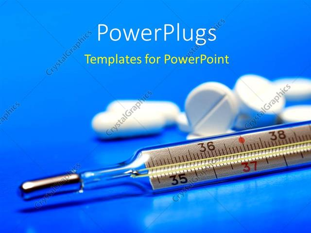 Powerpoint Template White Color Tablets And Clinical Thermometer