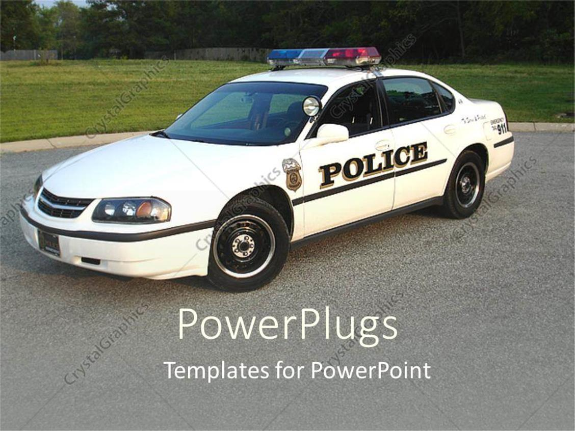 PowerPoint Template: White colored police car with lights on a road ...